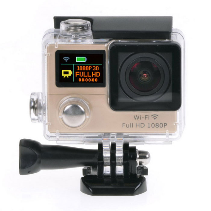 1080P Waterproof 2 LCD 12MP Mini Sport Camera w/ Ultra-wide - GoldenSport Cameras<br>Form ColorGoldenShade Of ColorGoldMaterialABSQuantity1 DX.PCM.Model.AttributeModel.UnitImage SensorCMOSImage Sensor Size2/3 inchesAnti-ShakeYesFocal DistanceNo DX.PCM.Model.AttributeModel.UnitFocusing RangeNoBuilt-in SpeedliteNoSpeedlite RangeNoApertureNoAperture RangeNoWide Angle170° A + HD wide-angle lensEffective Pixels12.0 MPImagesJPGStill Image Resolution12M (4608*2592) / 8M (3760*2120) / 5M (2976*1672) / 2M (1920*1080)VideoMOVVideo Resolution1080P 30fps; 720P 60fpsVideo Frame Rate30,60Audio SystemStereoCycle RecordYesISONoExposure Compensation-2;-1.7;-1.3;-1;-0.7;-0.3;0;+0.3;+0.7;+1;+1.3;+1.7;+2.0Scene ModeAutoWhite Balance ModeAutoSupports Card TypeTFSupports Max. Capacity32 DX.PCM.Model.AttributeModel.UnitBuilt-in Memory / RAMNoOutput InterfaceMicro USB,Micro HDMILCD ScreenYesScreen TypeTFTScreen Size2 DX.PCM.Model.AttributeModel.UnitBattery Measured Capacity 1050 DX.PCM.Model.AttributeModel.UnitNominal Capacity1050 DX.PCM.Model.AttributeModel.UnitBattery TypeLi-ion batteryBattery included or notYesBattery Quantity1 DX.PCM.Model.AttributeModel.UnitVoltage3.7 DX.PCM.Model.AttributeModel.UnitBattery Charging Timeabout 3 hoursLow Battery AlertsYesWater ResistantWater Resistant 3 ATM or 30 m. Suitable for everyday use. Splash/rain resistant. Not suitable for showering, bathing, swimming, snorkelling, water related work and fishing.Supported LanguagesEnglish,Traditional Chinese,Russian,Portuguese,Spanish,Italian,Korean,French,Others,Dutch, Polski, Japanese, ThaiCertificationCEPacking List1 x Wi-Fi Sports camera1 x Waterproof housing1 x Protective back case1 x Handle bar/ pole mount2 x Helmet bases 1 x Mount A1 x Mount B1 x Mount C1 x Mount D1 x Mount E1 x Mount F1 x Mount G1 x Clip A1 x Clip B2 x Bandages (36cm)  2 x Velcro straps (20cm)2 x Adhesive tapes4 x Cable ties1 x Lens cloth1 x Charger (EU plug; Input: 100~240V; Output: 5V, 1A)1 x USB Cable (60cm)1 x Li-ion Battery (3.7V, 1050mAh)1 x English user manual<br>