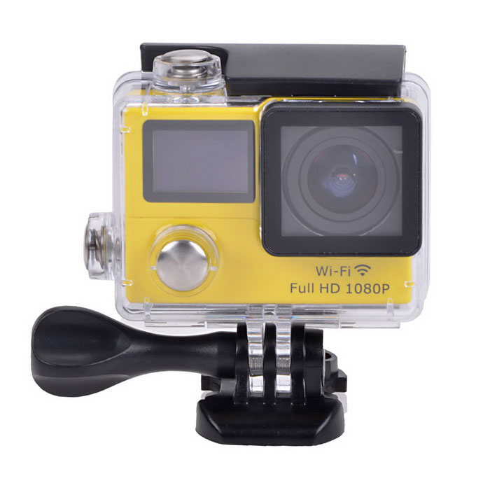 1080P Waterproof 2 LCD 12MP Mini Sport Camera w/ Ultra-wide - YellowSport Cameras<br>Form ColorYellowShade Of ColorYellowMaterialABSQuantity1 DX.PCM.Model.AttributeModel.UnitImage SensorCMOSImage Sensor Size2/3 inchesAnti-ShakeYesFocal DistanceNo DX.PCM.Model.AttributeModel.UnitFocusing RangeNoBuilt-in SpeedliteNoSpeedlite RangeNoApertureNoAperture RangeNoWide Angle170° A + HD wide-angle lensEffective Pixels12.0 MPImagesJPGStill Image Resolution12M (4608*2592) / 8M (3760*2120) / 5M (2976*1672) / 2M (1920*1080)VideoMOVVideo Resolution1080P 30fps; 720P 60fpsVideo Frame Rate30,60Audio SystemStereoCycle RecordYesISONoExposure Compensation-2;-1.7;-1.3;-1;-0.7;-0.3;0;+0.3;+0.7;+1;+1.3;+1.7;+2.0Scene ModeAutoWhite Balance ModeAutoSupports Card TypeTFSupports Max. Capacity32 DX.PCM.Model.AttributeModel.UnitBuilt-in Memory / RAMNoOutput InterfaceMicro USB,Micro HDMILCD ScreenYesScreen TypeTFTScreen Size2 DX.PCM.Model.AttributeModel.UnitBattery Measured Capacity 1050 DX.PCM.Model.AttributeModel.UnitNominal Capacity1050 DX.PCM.Model.AttributeModel.UnitBattery TypeLi-ion batteryBattery included or notYesBattery Quantity1 DX.PCM.Model.AttributeModel.UnitVoltage3.7 DX.PCM.Model.AttributeModel.UnitBattery Charging Timeabout 3 hoursLow Battery AlertsYesWater ResistantWater Resistant 3 ATM or 30 m. Suitable for everyday use. Splash/rain resistant. Not suitable for showering, bathing, swimming, snorkelling, water related work and fishing.Supported LanguagesEnglish,Traditional Chinese,Russian,Portuguese,Spanish,Italian,Korean,French,Others,Dutch, Polski, Japanese, ThaiCertificationCEPacking List1 x Wi-Fi Sports camera1 x Waterproof housing1 x Protective back case1 x Handle bar/ pole mount2 x Helmet bases 1 x Mount A1 x Mount B1 x Mount C1 x Mount D1 x Mount E1 x Mount F1 x Mount G1 x Clip A1 x Clip B2 x Bandages (36cm)  2 x Velcro straps (20cm)2 x Adhesive tapes4 x Cable ties1 x Lens cloth1 x Charger (EU plug; Input: 100~240V; Output: 5V, 1A)1 x USB Cable (60cm)1 x Li-ion Battery (3.7V, 1050mAh)1 x English user manual<br>