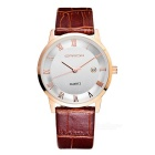 SANDA 3D Ultra-thin Dial, Japan Movement, Calendar, Leather Strap Watch - Rose Gold + White