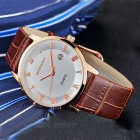 SANDA 3D Dial Leather Strap Watch w/ Calendar - Rose Golden + White