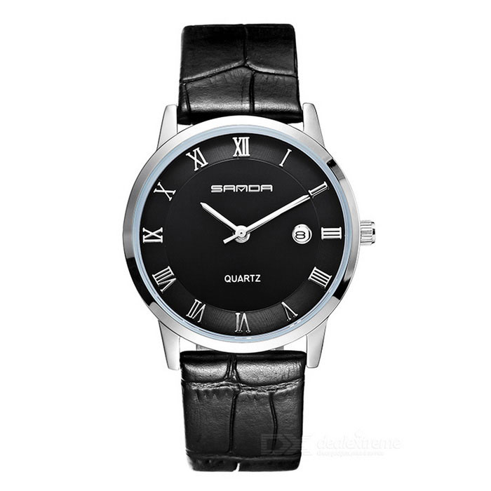 SANDA 3D Dial Leather Strap Watch w/ Calendar - Silver + Black