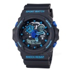 SANDA 30 m Waterproof, Japan Movement And Battery, Double Display Sports Watch - Black + Blue