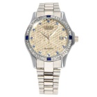 CJIABA Men's Luxury Rhinestone Scale Waterproof Auto Mechanical Watch w/ Calendar - Silver + Gold