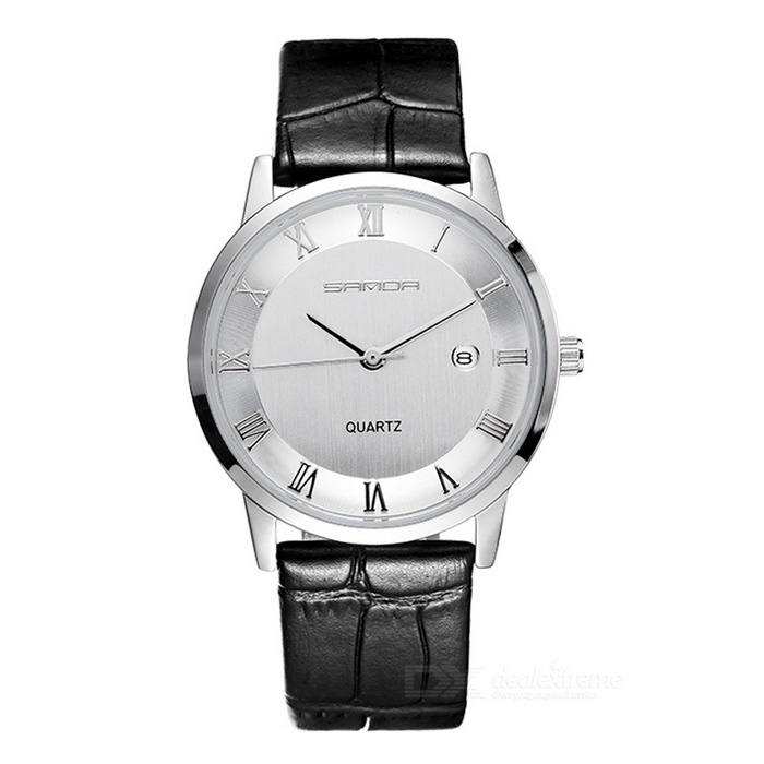 SANDA 3D Dial Leather Strap Watch w/ Calendar - Silver + White