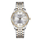 Weiqin Men's Fashion Stainless Steel Band Analog Quartz Watch w/ Calendar - White + Silver (1xS377)