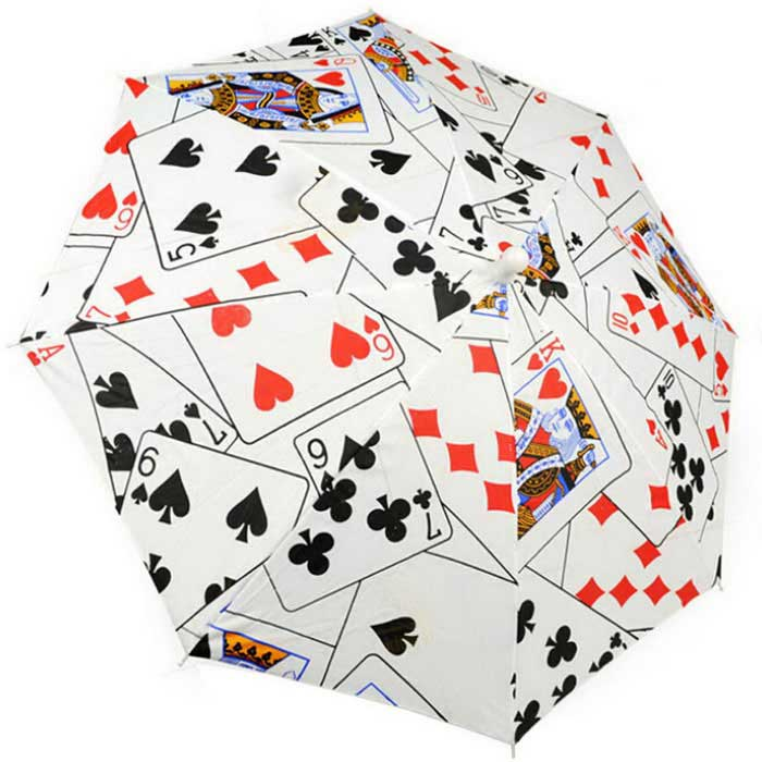 Magic Props Poker Magic Umbrella - White + Black + Multicolor