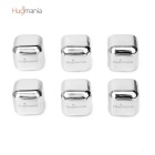Hugmania-Square Shaped Reusable Stainless Steel Stones Ice Cube Set for Wine/Juice (6PCS)