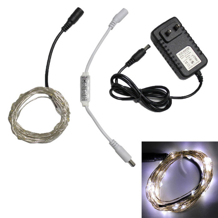 Decoration Waterproof 1.5W 50-LED Cold White Light Strip w/ ControllerLED String<br>Form  ColorTranslucent Black + SilverColor BINCool WhiteModelFLEDRLW01WPMaterialPlasticQuantity1 DX.PCM.Model.AttributeModel.UnitPowerOthers,1.5WRated VoltageDC 12 DX.PCM.Model.AttributeModel.UnitChip BrandHugaEmitter TypeOthers,0603 SMD LEDTotal Emitters50WavelengthN/AActual Lumens500 DX.PCM.Model.AttributeModel.UnitPower AdapterUS PlugCertificationUL,CEPacking List1 x LED Copper Wire Light Strip1 x Controller1 x Charger<br>