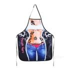 Sexy Beauty Wearing Jeans Pattern Polyester Apron - White + Blue + Multi-Color