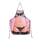 Sexy Beauty Wearing Underwear Pattern Polyester Apron - Black + Pink + Multi-Color