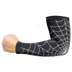 Spider Web Style Anti-Slip Elastic Arm Warmers - Black + White (L)