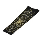 Spider Web Style Anti-Slip Elastic Arm Warmers - Black + Gold (L)