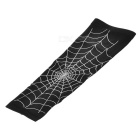 Spider Web Style Anti-Slip Elastic Arm Warmers - Black + White (XL)