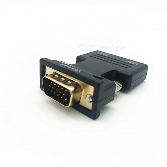 HDMI to VGA Adapter w/ Audio Output Port for Laptop / Desktop - BlackComputer Cable&amp;Adapter<br>Form  ColorBlackQuantity1 DX.PCM.Model.AttributeModel.UnitShade Of ColorBlackMaterialABSInterfaceOthers,VGA, HDMITypeOthers,Universal for laptop / desktop VGA interfaceOther FeaturesConverts HDMI signal source into VGA signal and audio signal.Packing List1 x Adapter1 x Audio cable (45cm)<br>
