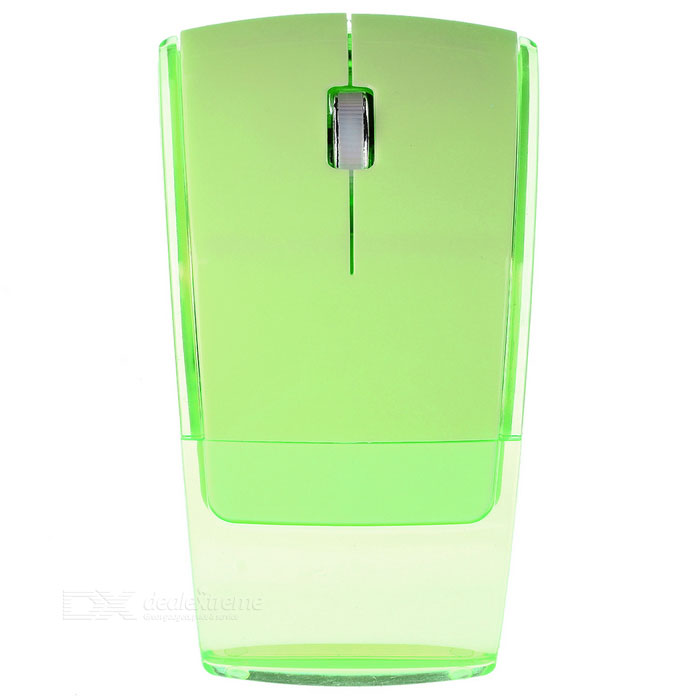 2.4GHz 1000dpi Foldable Wireless Optical Mouse - Green + Transparent