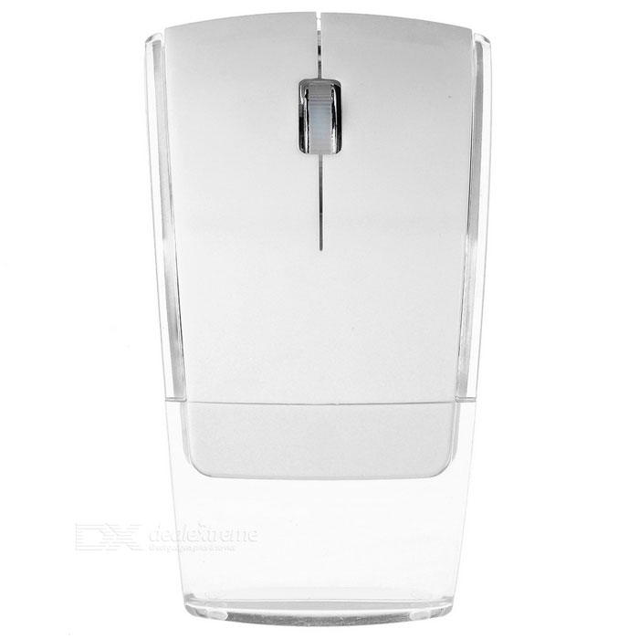 2.4GHz dobrável Wireless Optical Mouse - branco + Transparent