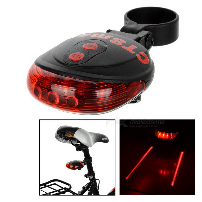 CTSmart Waterproof 5-LED 7-Mode Red Light Laser Bike Taillight - Red