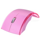 2.4GHz 1000dpi Foldable Wireless Optical Mouse - Pink + Transparent