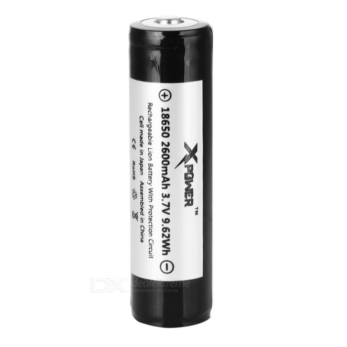 Xpower 18650 2600mAh Battery w/ Protective Cover - Black + White