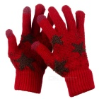 Star Pattern Thicken Keep Warm Touch Full Fingers Gloves - Red + Coffee