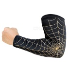 Spider Web Style Anti-Slip Elastic Arm Warmers - Black + Gold (M)