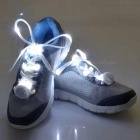 3-Mode White Light Flashing LED Shoelaces for Cycling - White (Pair)