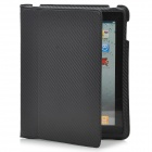 Slim-Fit Protective PU Leather Case with Stand Holder for Apple iPad - Black
