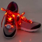 3-Mode Red Light Flashing LED Shoelaces for Cycling - Red (Pair)