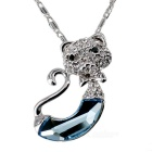 Women's Fashion Jazz Cat Style Platinum Plating Pendant Necklace - Silver + Transparent Blue