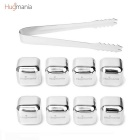 Hugmania- Reusable Square Shaped Stainless Steel Ice Cube Set w/ Clamp for Wine/Juice/Soda (8PCS)