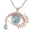 Korean Style Angel's Tear Design 18K Gold Plated Pendant Necklace - Rose Gold + Blue