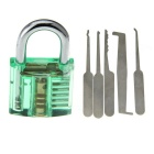 Mini Transparent See-Through Practice Padlock + 5-Piece Lock Picks Tools Set - Green + Silver