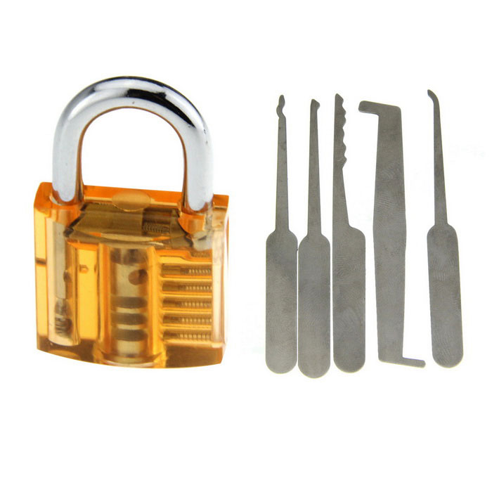 Mini Transparent See-Through Practice Padlock + Lock Picks Tool SetLocksmith Supplies<br>ModelN/AQuantity1 DX.PCM.Model.AttributeModel.UnitForm  ColorOrange + SilverMaterialABS + stainless steelPacking List1 x Lock (with 2 keys)5 x Lock picks<br>