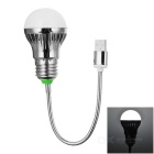 88lm 6700K Cool White Light 1-Mode 1-LED USB Bulb Lamp - Silver + White