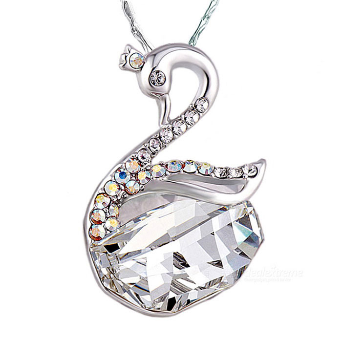 Swan Design Plating Pendant Necklace - Silver + Transparent White