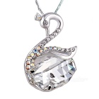 Korean Style Swan Design Platinum Plating Pendant Necklace - Silver + Transparent White