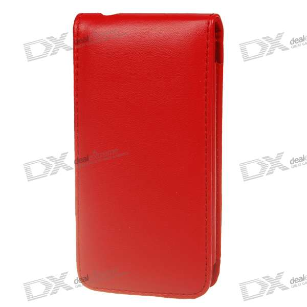 Protective PU Case with Strap for Iphone 4 - Red