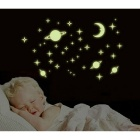 Y0036 Stars and Moon Pattern Wall Sticker - Light Yellow (30 x 45cm)