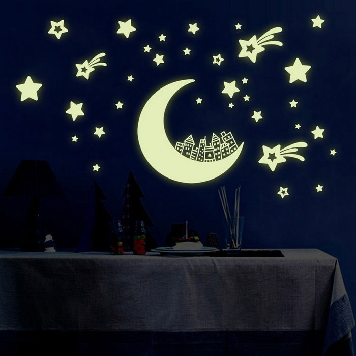 y0016 star moon wall stickers black 30 45cm free shipping dealextreme. Black Bedroom Furniture Sets. Home Design Ideas