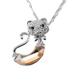 Platinum Plating Nifty Jazz Cat Style Necklace for Women - Silver + Champagne
