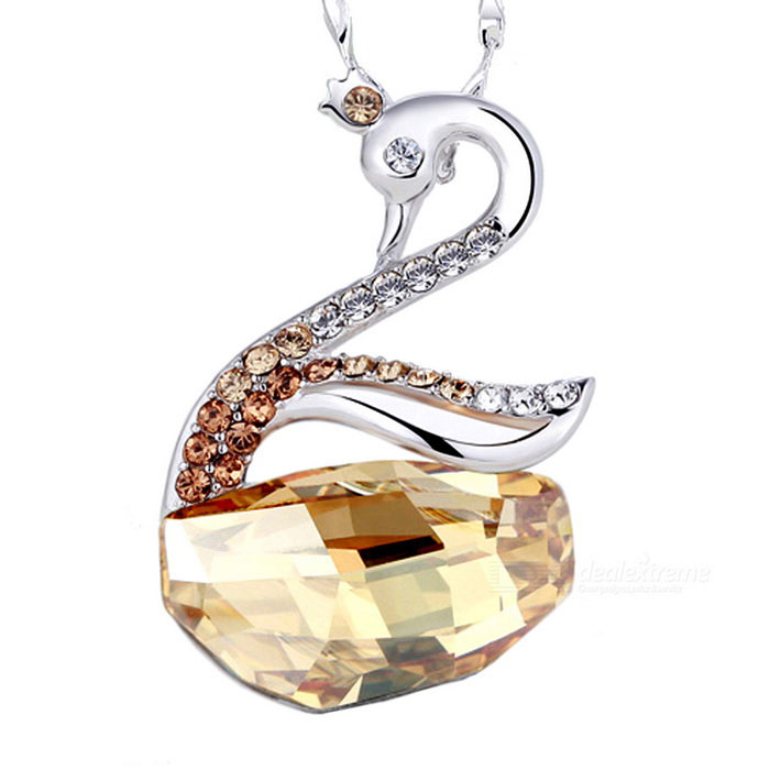 Swan Design Platinum Plating Pendant Necklace - Silver + Champagne