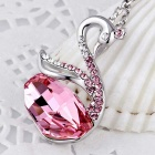 Swan Design Platinum Plating Pendant Necklace - Silver + Pink