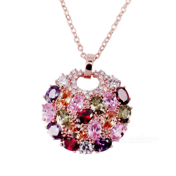 18K Gold Plating AAA Zircon Pendants Necklace for Women - Multicolored