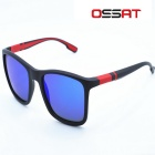 OSSAT UV400 Protection PC Frame Blue REVO Poloarized Lenses Outdoor Sports Sunglasses - Black + Red