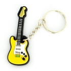 Electric Guitar Shaped Pendant Silicone Keychain - Yellow + White + Multi-Color