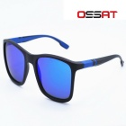 OSSAT UV400 Protection PC Frame Blue REVO Poloarized Lenses Outdoor Sports Sunglasses - Black + Blue