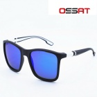 OSSAT UV400 Protection PC Frame Blue REVO Poloarized Lenses Outdoor Sports Sunglasses - Black +White