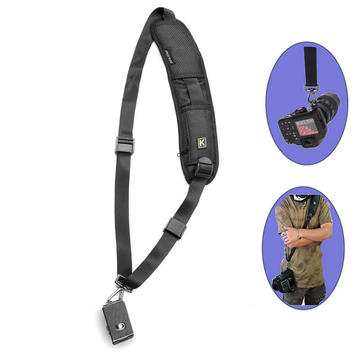Quick Single Shoulder Camera Sling Strap for SLR Cameras - BlackCamera Straps<br>Form ColorBlackShade Of ColorBlackMaterialPolyesterQuantity1 DX.PCM.Model.AttributeModel.UnitCompatible ModelsDigital SLR CamerasOther FeaturesHigh quality made. Strong, secure and heavy duty.<br>There is a tripod connection plate that accepts 1/4 standard screw<br>It can also hold lens or binocular<br>The unique screw-in plate is made of high quality ABS material with two strap eyelets on both sides for attaching a hand strap and a neck strap.<br>This strap also comes with a tripod socket that allows user to connect the camera to the tripod without removing the plate.<br>The Quick Release Strap is worn diagonally across the torso from shoulder to hip and is adjustable to fit most photographers. Once connected, the camera hangs upside down, resting securely at the side or in the small of the back, with the lens pointing behind.<br>It has a quick accessed secure pocket for storing extra memory cards in their protective cases.<br>Camera Grip allows the photographer to control the camera with greater ease and accuracy.Packing List1 x Camera Single shoulder<br>