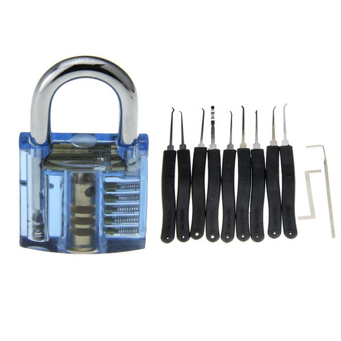 Mini Slotted Transparent Padlock + 9-Compact Key Tool Set