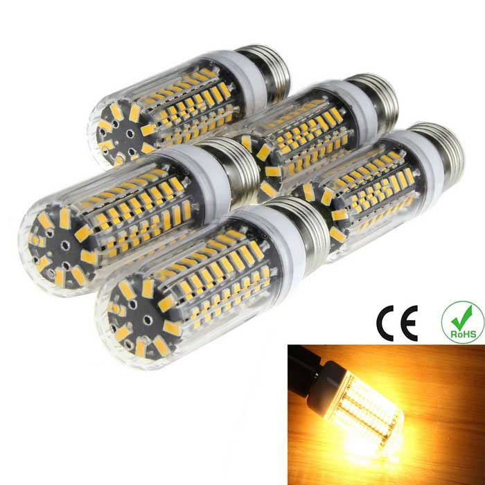 E27 8W 80-5733 SMD 1100lm 3000K Warm White Light Corn Lamp (5PCS)E27<br>Form  ColorWhite + BlackColor BINWarm WhiteMaterialPCQuantity5 DX.PCM.Model.AttributeModel.UnitPower8WRated VoltageAC 220-240 DX.PCM.Model.AttributeModel.UnitConnector TypeE27Emitter TypeOthers,5733 SMD LEDTotal Emitters80Theoretical Lumens1200 DX.PCM.Model.AttributeModel.UnitActual Lumens1000 DX.PCM.Model.AttributeModel.UnitColor Temperature3000KDimmableNoBeam Angle360 DX.PCM.Model.AttributeModel.UnitPacking List5 x LED Light Bulbs<br>